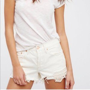 We the Free People White Lace Jean Shorts Boho 26